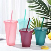 Fashion Plastic Straw Cup Reusable Portable Shiny Flash Powder Drinking Water Bottle With Straws Drinkware Outdoor Accessory Mugs