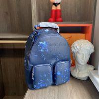 Erkekler Multipocket Sırt Çantası Mürekkep Suluboya Deri Moda Sırt Çantaları Mavi Gökyüzü Bulut Çantası Çift Omuz Laptop Çantaları Öğrenci Bookbag