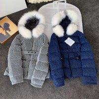 2021 Winter Luxury women outerwear jackets coat Bling Iridescent Material Fur Collar Slim Fit Down Jacket