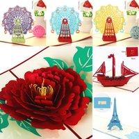 Grußkarten Kawaii Handmade 3D Riesenrad Origami up Papier Laser Cut Vintage Post Happy Birthday Geschenke Kraft