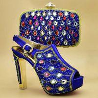 Scarpe Dress Shoes African and Arking Bags Italian Nigerian Donne Borsa da sposa Set decorata con Strass Moda Bridal