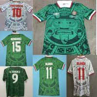 1998 الرجعية طبعة المكسيك لكرة القدم جيرسي 1998 كأس العالم لكرة القدم قميص المكسيك المنزل الأزرق لكرة القدم قميص أبيض قصير