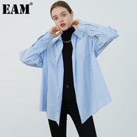 [EAM] Femmes Bleu Bleu Split Big Taille Blouse Vapel À manches longues à manches longues Fit T-shirt Mode Spring Automne 2021 1DB256 Blouses pour femmes Sh