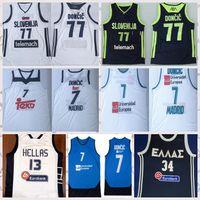 Низкообывающаяся Словения Баскетбольная майки для баскетбола DONCIC 77 Лука Словения 7 Реал Мадрид Euroleage Giannis Antetokounmpo G. Greece 34 National Hellas Размер S-2XL