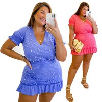 Plus Size Tracksuits Women's Summer V-neck Beaded T Shirt + Mini Bodycon Skirt Two Piece Set Sexy Night Club Suits Beach 2 Outfits
