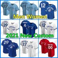 Toronto Custom Blue Bayball 4 George Springer Jays Jersey 27 Vladimir Guerrero JR 10 Marcus Semien 8 Cavan Biggio Joe Carter Roberto Alomar
