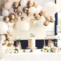 Balloon Garland Arch Kit 85Pcs White and Gold Balloons-Wedding Birthday Bachelorette Engagements Anniversary Party Backdrop DIY