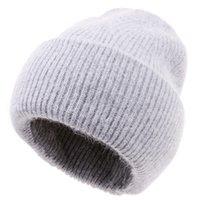 Özel Logo Kadınlar Beanie Angora Vintage Şapka Kızlar Sıcak Moda Yumuşak Örme Kap