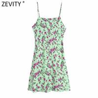 ZEVITY WOME Moda Çiçek Baskı Sling Mini Elbise Kadın Chic Backless Button Up Spagetti Kayışı Ince Vestidos DS8319 210419