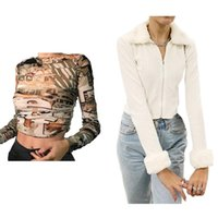 Women's T-Shirt 1 Pcs Girl Zip Up Collar Knitted Cardigans White S & Autumn Stacked Cut Out Hole Female Khaki