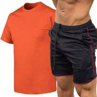Big Size S-2XL Summer Tracksuit Men Sportswear Short Sleeve T-Shirts+Pants 2 Pieces Men's Sets Jogging Sweat Suits