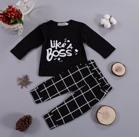 2PCS Infant Baby Boy Clothing Sets 2020 Spring Autumn Outfits Like A Boss Long Sleeve Black Tops Pant Kids Boys Girls Clothes 210427