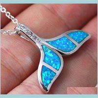 Cristallo di alta qualità Blue Opal Sirena Mermaid Balena Collana Collana Fascino Trendy Gioielli Regalo per le donne Yutgc Collane 1vtai