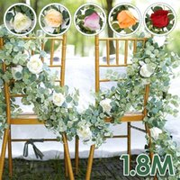Decorative Flowers & Wreaths 1.8 M Artificial Rose Ivy Vine Wedding Decor Real Touch Silk Flower Garland String With Leaves For Home Hanging