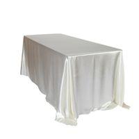 145x320 cm Beyaz / Siyah Masa Örtüleri Masa Örtüsü Düğün Doğum Günü Partisi Otel Ziyafet Dekorasyon için Dikdörtgen Saten Masa Örtüsü