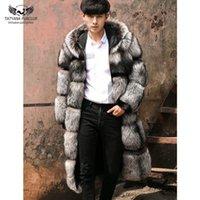 Tatyana Furclub Luxe Plein Plein Véritable Manteau de fourrure d'argent pour les longues vestes d'hommes avec capuche épaisse de style de mode hiver chaud et féminin