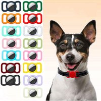 Strap Band Case for Airtag Dog Collar tag Silicone Covers Anti-lost Cases Protective Pets GPS Tracking Locator FHL463-WLL