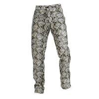 Herren PU-Kunstlederhose Lässig Snakeskin Lange Slim Fit Straight Bein Streetwear Plus Size S-XXXL-Hose für Männer