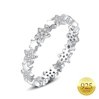 925 Sterling Silver Star Ring Inlaid CZ Stone Dainty Stackable Wedding Promise Eternity Rings for Women Girls