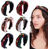 Mode-Designer-Marke Rot Grüner Streifen Wide Rand Geknotete Stirnbänder Luxus Turban Stirnband Hair Hoop Headwear Zubehör Headwrapps