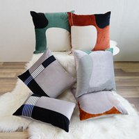 Cushion Decorative Pillow Cilected Modern Geometric Embroidered Cushion Cover Nordic Flannel Square Pillowcase Striped Waist Home Decor