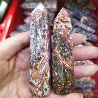 Objetos decorativos figurinhas 2 pc natural leopardo vermelho pele cristal mineral obelisco pequeno torre hexagonal prism reiki cura pedras