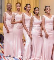 Mermaid Bridesmaid Dress Long V Neck Wedding Guest wear with Split Black Girl custom made Prom Evening Party Gown