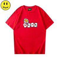 드류 티셔츠 스마일 카드 여름 코튼 남자 티셔츠 남성 여성 티셔츠 짧은 소매 고품질 탑스