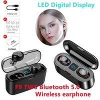 Tws F9 Bluetooth 5.0 Bezprzewodowe Słuchawki AI Dotykowy LED Digital Display z mikrofonem Wodoodporna Sport 9D HIFI Stereo Music Earbuds 2000 mah Box Ładownica