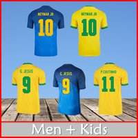 Neymar Jr Jersey BrazilNew Futebol Jerseys 20 21 Coutinho Jesus Neres Firmino Marcelo Camisas de futebol Homens Camisa + Kits Uniforme