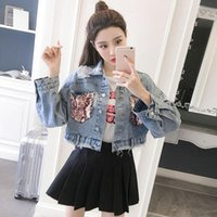 Women's Jackets 2021 Spring And Autumn Pocket Sequins Ripped Jacket Retro All-match Frayed Denim Short Female Tide Bomber