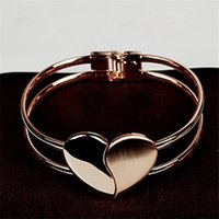 New Top Fashion Lady Girl Elegant Heart Bangle Wristband Bracelet Cuff Bling jewelry Accessories Gift