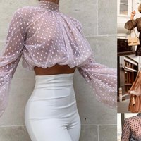 ITFABS бренд слоеного рукава женские рубашки культивирования вершины Смотреть сквозь прозрачный танк точки печати черепаха шеи рубашка блузка мода женский