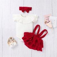 Cute Born Baby Girls 3 Piece Set Infant's Ribbed Flying Sleeve Ruffled Romper Velvet Suspender Skirt Hair Band For Clothing Sets