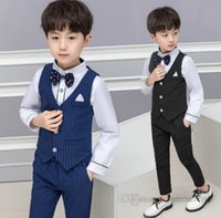 Fashion Boys gentleman clothes sets children Bows tie+stripe waistcoat+shirt+suspender+trouser 5pcs 2021 autumn kids birthday party clothings outfits Q0206
