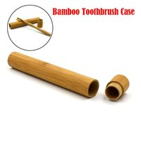 Storage Boxes & Bins Natural Bamboo Tube For Toothbrush Eco Friendly Travel Case Hand Made 22cm Portable Packing