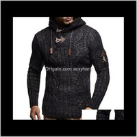Sweaters Clothing Apparel Drop Delivery 2021 Men Autumn Winter Eu Size Mens Fashion Rope Hoodie Casual Slim Knit Sweater Pdj9# C14Rd