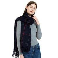 스카프 2021 가을 겨울 긴 캐시미어 스카프 여성 블랙 라이트 블루 핑크 브라운 붉은 목도리 망토 숙녀를위한 격자 무늬