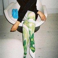 Women's Leggings 2021 Street Style Female Trousers Casual Aesthetic Print Foot Pants Spring Medium Waist Skinny Body-shaping