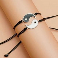 Charm Bracelets Tai Chi Yin Yang Gossip Universal Ethnic Style Simple Creative Personality Wild Bracelet Set Adjustable Unisex Couple Gift
