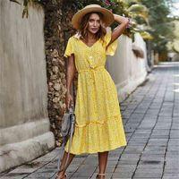 Vodiu النساء فساتين بوهو الزهور كشكش عارضة مثير الخامس الرقبة فستان طويل vestidos الأصفر فستان الشمس عطلة رداء للنساء 210522