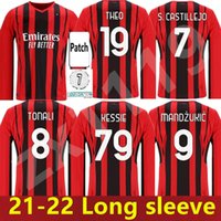 AC Milan manga comprida 21 21 22 Jersey de futebol Ibrahimovic Brahim Bennacer Kessie Romagnoli Calhanoglu 2021 2022 Camisa de Futebol Tonali Rebic Maillot Adulto Men