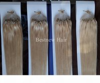 """Lummy Remy Micro Anel Loop 100% Indian Human Human Extensions 16 """"-26"""" 1G S 100G Pack Color # 2 Darkest Brown e # 613 Bleach Blond"""