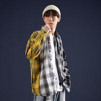 Privathinker Patchwork de gran tamaño Camisas a cuadros Hombres Streetwear Casual Camisa de manga larga Hip Hop Coreano Harajuku Ropa de Hombre
