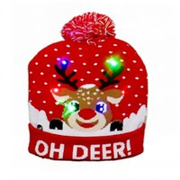 Winter Led Knitted Hats Designer Warm Pom Beanie With Moose Snowman Santa Claus Christmas Tree Jacquard Weave Gorro For Adults Mens Womens Children Head wearm