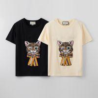 2021ss tops 100% algodão mulheres homens t-shirt de precisão bordado gato lantejoulas letras barra de rua mulher camisas tamanho s-xxl