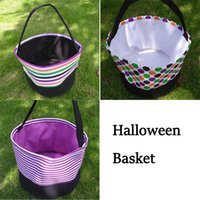 Halloween Festives Candy Basket Polka Dot Bucket Stripe Toy Sacks Funny Trick or Treat Tote Storage Bags Festival Party Decoration