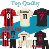 2122 CA Soccer Jerseys 21 22 Milan Ibrahimovic Brahim Tonali Theo Girud Rebic Leao Romagnoli Jersey Jersey Camisetas Hombres y niños Kit Uniformes
