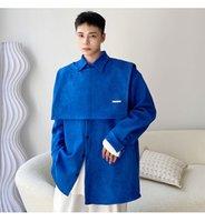 Men Thicken Long Sleeve Shirt Trend Fashion Loose Casual Korean Vest Shirts Coat Man Tops