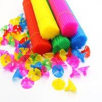 100 adet 40 cm Renkli Beyaz Lateks Balon Sopa Ve Bardaklar PVC Çubuklar Balonlar Tutucu Düğün Noel Doğum Günü Partisi Dekor Için